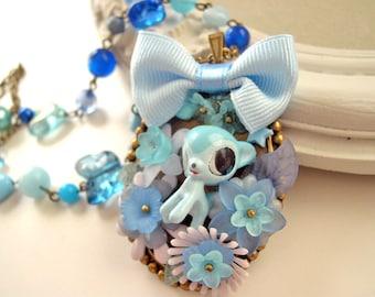 Blue deer necklace Kawaii Lolita