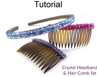 Beading Pattern Tutorial - Beaded Headband and Comb - Right Angle Weave - Simple Bead Patterns - Crystal Headband & Side Hair Comb #27553