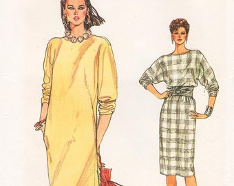Sz 8/10/12 - Vogue Dress Pattern 8565 - Misses' Loose-Fitting, Pullover, Straight Dress with Slit Neckline - Very Easy Vogue