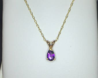 14K Yellow Gold Pear Shaped Amethyst Pendant, Amethyst Pendant, February Birthstone Pendant, Amethyst Necklace