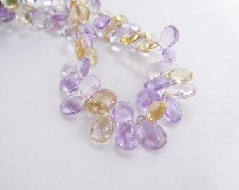 "Natural Gemstone Ametrine Faceted Pears Shape Beads 8 inch"" Strand 4x6-5x4 Mm(ae-28-1)"