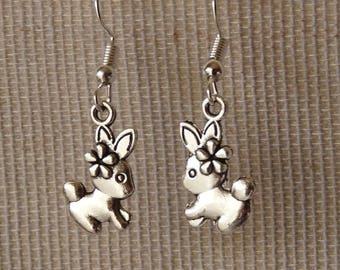 Rabbit Earrings, Bunny Earrings, Rabbit Charm Earrings, Easter Jewelry, Stainless Steel Fish Hook Earrings + Rubber Backs, Animal Jewelry