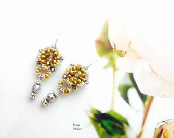 Beaded earrings, silver and gold bronze earrings, embroidered seed beads earrings, beadwork jewelry, handmade glass beadwoven earrings