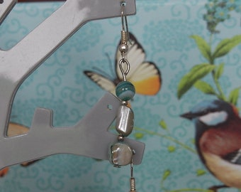 Pearl Earrings agate and several shades of blue