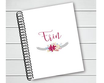 Personalized Notebook, Floral Coil Notebook, Writing Journal (NB-002-PC)