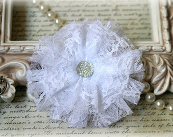 Tresors   Large White  Lace Flowers For Headbands, Sashes, Clothing, Crafting etc Approx. 4 inches across  FL-122