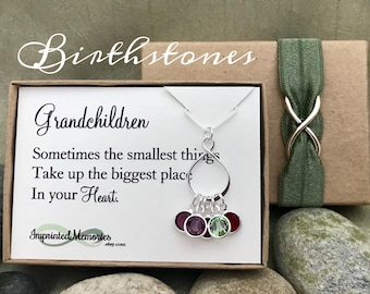 Gifts for Grandma Jewelry Grandma Necklace Gift from Grandchildren Birthstone Necklace for Grandma Mother's Day 60th Birthday Gift for Mom