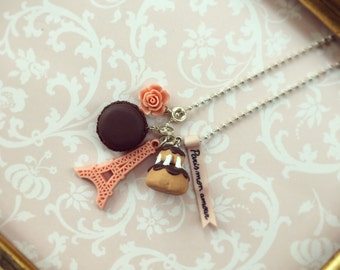 Paris Mon amour, Romantic Necklace with Pink Eiffel Tower, Macaron, Rose, Religieuse, Miniature Food
