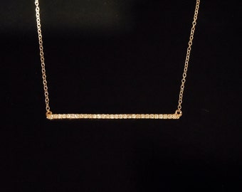 Diamond Bar Necklace - 14kt Yellow Gold or White Gold