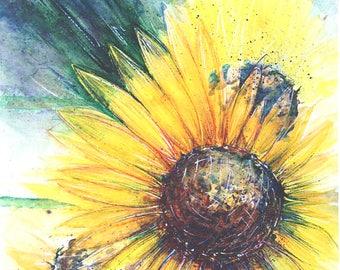 Sunflower painting Yellow Floral Sunflower art Original watercolor painting Flower art 11 x 14 Floral painting Sunflower original painting