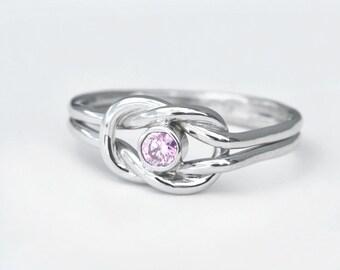 October Birthstone Ring, Pink Gemstone Ring, Infinity Knot Ring, Pink Gemstone Jewelry, Birthstone Jewelry, Promise Ring, Knotted Jewelry