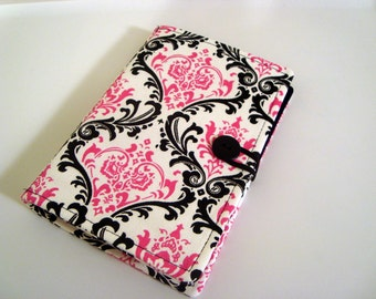 Honey Do List, Grocery List Taker/ Comes with- Note Pad and Pen-Pink and Black Damask