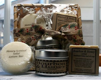 Gift for him - Bourbon&Honey scented gift set - beeswax candle, soap, solid lotion bar in a bamboo basket