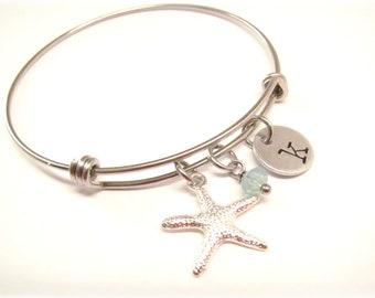 Starfish Bangle - Beach Charm Bracelet - Adjustable Bangle - Personalized Initial Jewelry - Starfish Jewelry - Beach Wedding Bridesmaid Gift