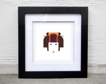 Japanese geisha print for home, apartment; japanese art, minimalist design, japan, kimono, japanese culture, japan costume, japan woman