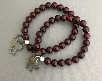 Black Cat Charm Bracelet, Witch Charm Bracelet, Gemstone Charm Bracelet, Oxblood Gemstone Bracelet, Halloween Bracelet