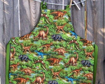 Dinosaur Kids Apron - Green Dinosaur Jungle Butcher Apron - Child Size 8