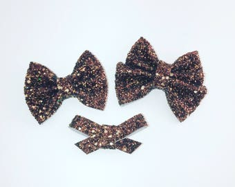 Hot Chocolate Glitter bows on clips or headbands