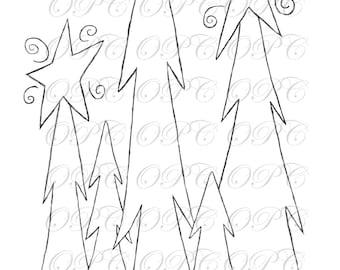 Digital Stamp Three Trees