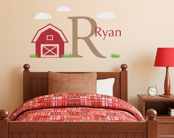 Initial, Name & Barn Wall Decal Set - Boys Name and Initial Decal - Personalized Boy Decal - Medium