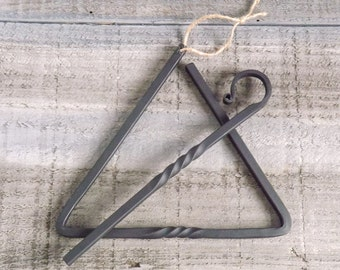 """Personalized Triangle Dinner Bell - 9"""" Hand Forged Dinner Bell - Chuck Wagon Bell - Mother's Day Gift - by The Red Oak Forge on Etsy"""