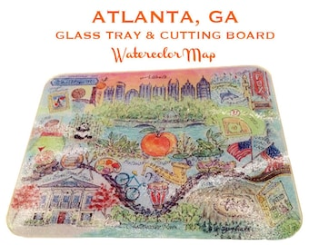 Glass Tray/Cutting Board - ATLANTA, Georgia *now available - Great Christmas Gift