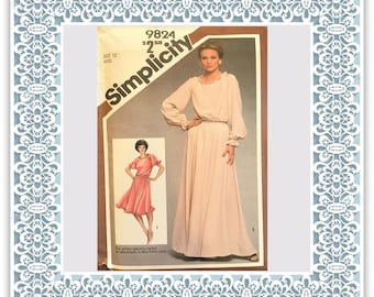 Simplicity 9824 (1980) Misses' dress in two lengths (with petite option) - Vintage Uncut Sewing Pattern