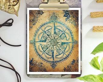 compass rose wall decor - travel prints - bohemian art - boho art