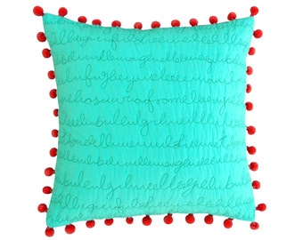 "SALE 50%, Mint throw pillow cover, quilted cotton pillow cover, script quilting, coral pom pom,standard size 16""X 16"""