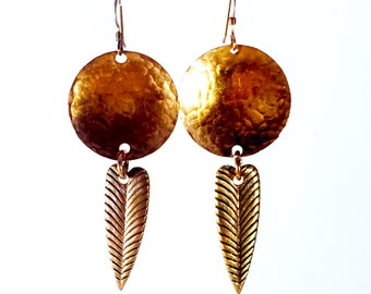 Shield and Feather Copper Earrings Tsalagi Cherokee Made