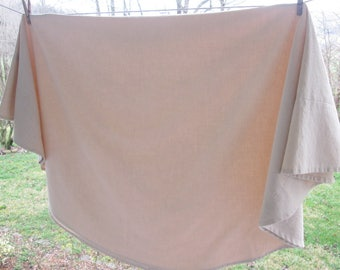 """Vintage Round Damask Tablecloth - Creamy Beige Cotton Tablecloth - 64"""" 65"""" Across"""