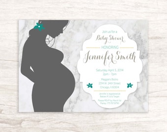 Baby Shower Invitation with Pregnant Woman Silhouette
