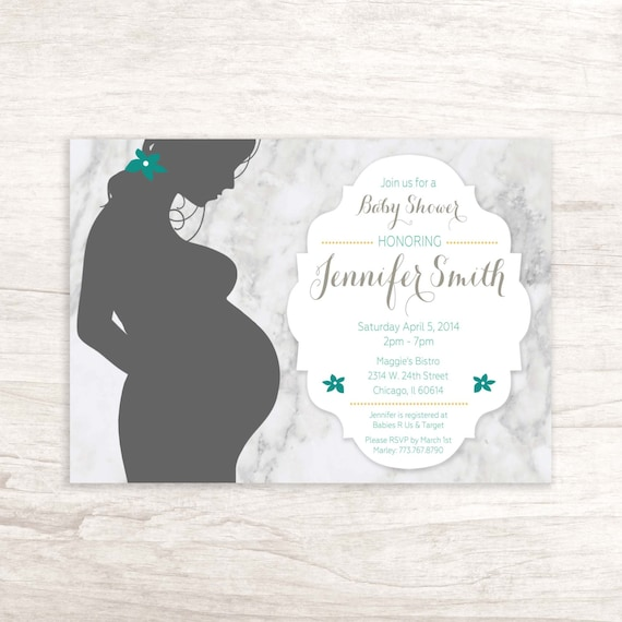 Baby shower invitation with pregnant woman silhouette filmwisefo