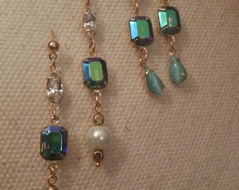 Romantic Style Dangle Earrings, Vintage Connectors and Swarovski Crystals, 2 Pairs Available. Moonstone, Crystals, Hand Designed