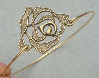 Flower Brass Bangle Bracelet Style 2