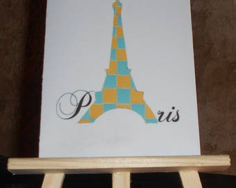 Woven paper Eiffel Tower card