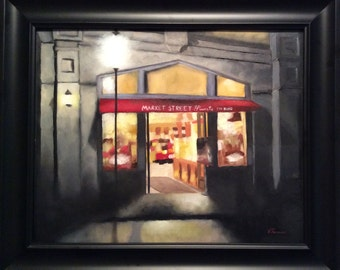 Painting, Market Street Sweets Original  oil painting, architecture by Velma Serrano