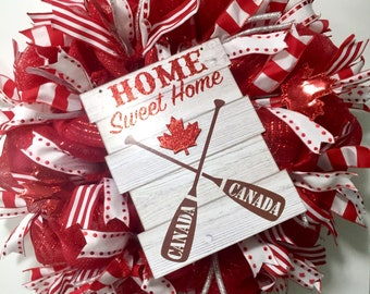 Canada day wreath, Canada day decor, Canadian door decor