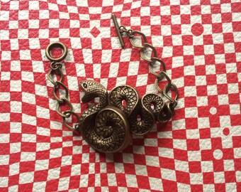 Handmade giant snake serpent Bracelet // antique brass // pendant and Chain bracelet //  made in USA