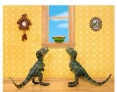 30% OFF SALE T. Rex twins dinosaur decor art print: Primordial Pie