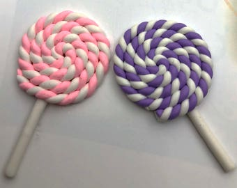 Pink Purple White Swirls Colorful Candy LolliPop 10 PC Suckers Polymer Clay Sweets Stick Dessert PP012118