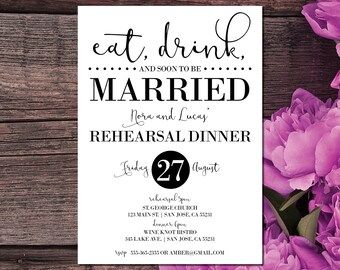 Rehearsal Dinner Invitations | Rehearsal Invites | Eat, Drink and Soon to Be Married | Wedding Rehearsal Dinner | Black and White Invites