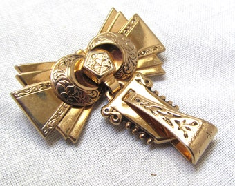 Victorian Revival Brooch Bow with Dangle