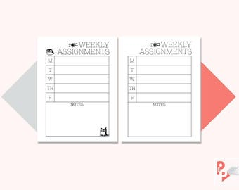 WEEKLY ASSIGNMENTS Happy Planner Printable Inserts, Create 365, Happy Planner Insert, Happy Planner Classic, MAMBI Planner, Instant Download