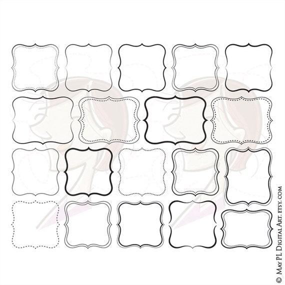 Digital Fancy Shapes Clipart Vector Frames Clip Art DIY Logo