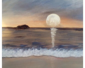 Original seascape acrylic painting, abstract landscape art gift art acrylic, sunset, beige, blue