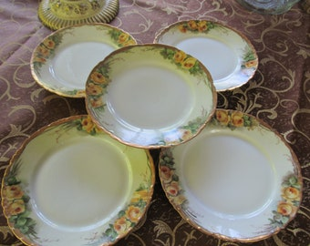 Yellow Roses Hand Painted Plates Yellow Rose Plates Rosenthal Bavaria,R C Versailles, O & E.G. Royal Austria Cabinet Plate Rose Theme Decor