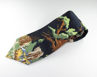 Mens Vintage Neck Tie Wide Tie Elephants Retro NeckTie circa 1970's