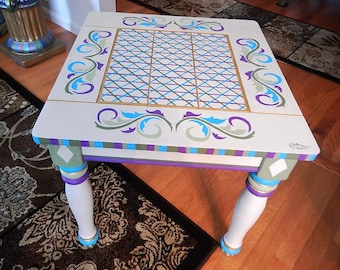 Hand painted end table, night stand, coffee table acrylic paint over maple base,