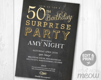 SURPRISE 50th Birthday Invitations Elegant Gold Party Invite 50 Chalk FIFTY Mens Womens Instant Download Editable Printable Personalize